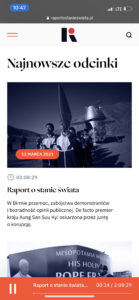 Nowa strona Raportu - widok mobile