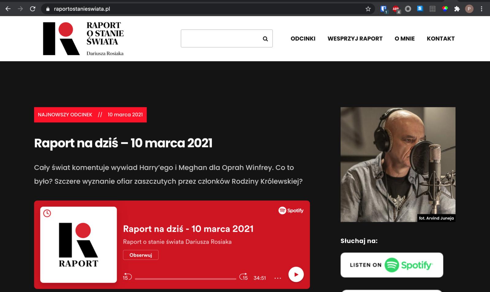 Top strony głównej starej strony Raportu ostanie świata